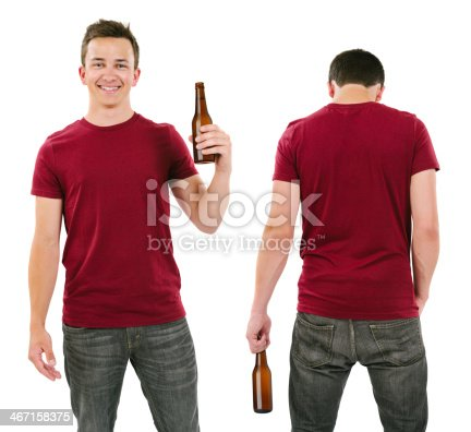 istock Male with blank burgundy shirt and drinking beer 467158375