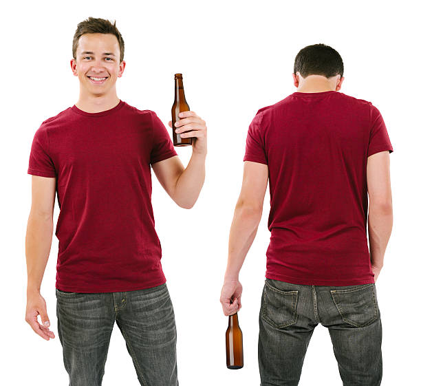 Male with blank burgundy shirt and drinking beer stock photo