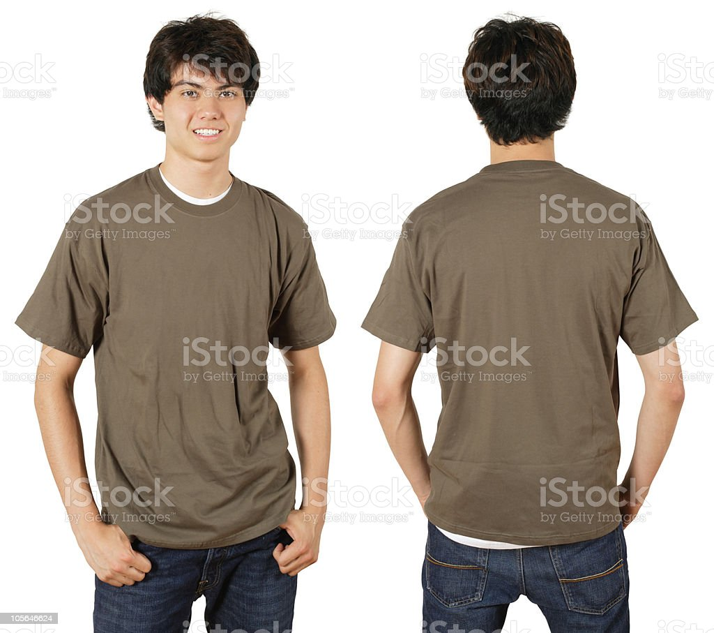 Male with blank chestnut shirt royalty-free stock photo