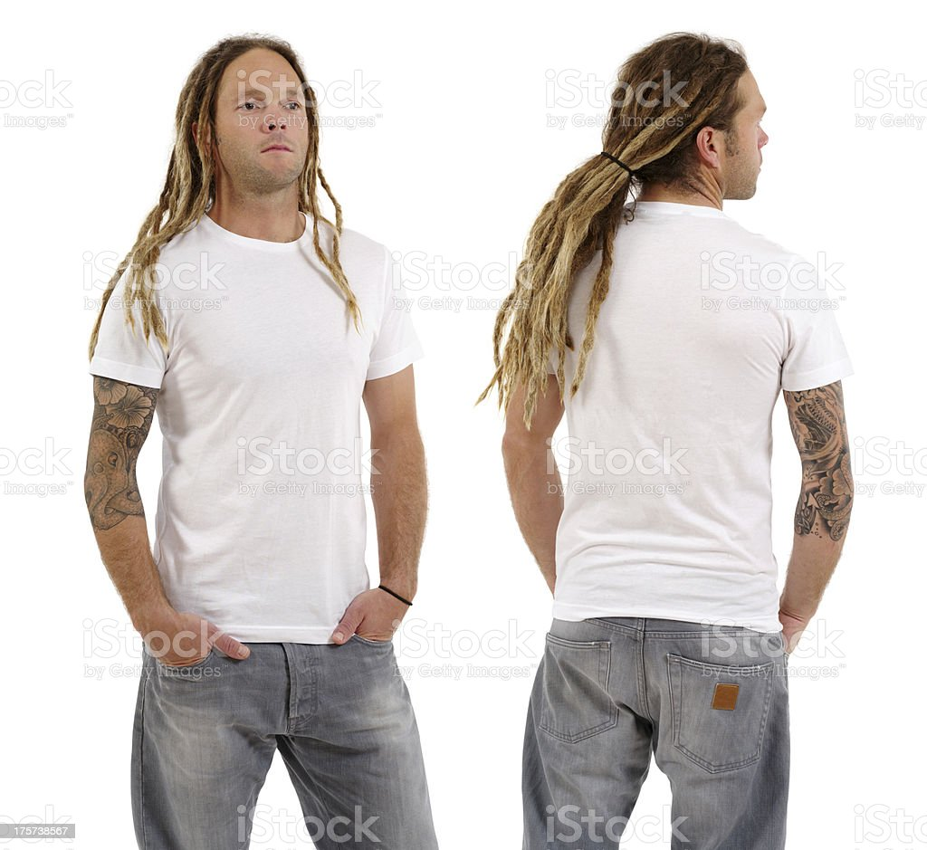 Male with blank white shirt and dreadlocks stock photo