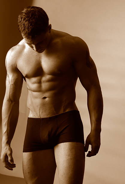 male with great abs stock photo