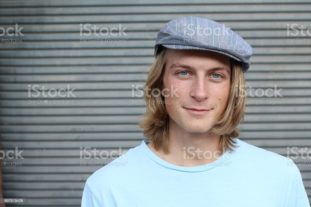 4aac259e31c Male With Long Hair Wearing Classic Hat Stock Photo   More Pictures ...