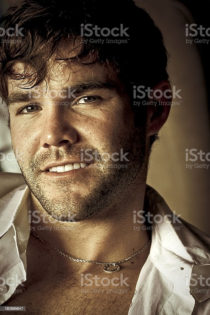 Male with Open Shirt royalty-free stock photo