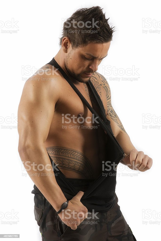 male with polynesian tattoo's royalty-free stock photo