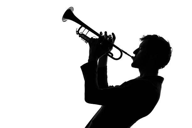 숫나사, 나팔꽃 실루엣 - 트럼펫 뉴스 사진 이미지