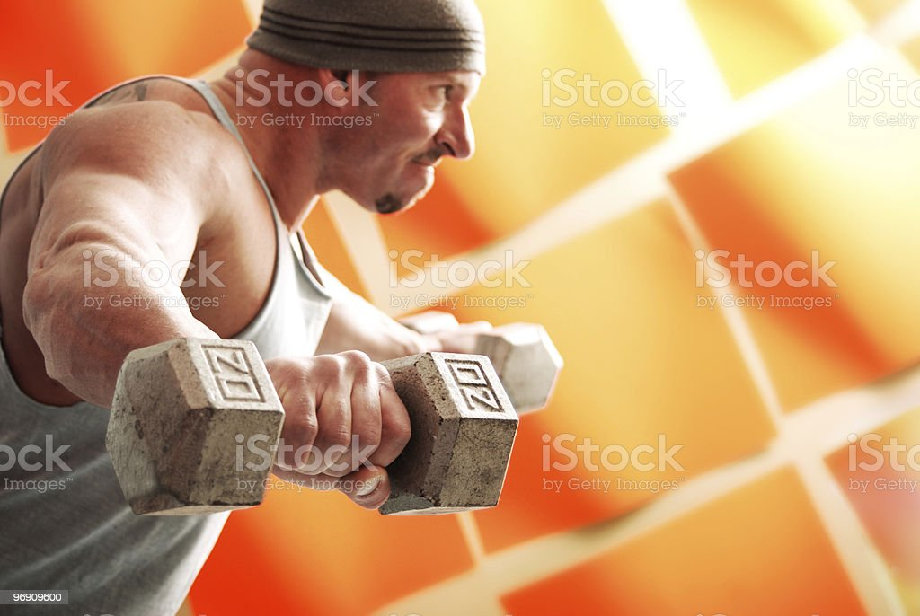 Male with weights royalty-free stock photo