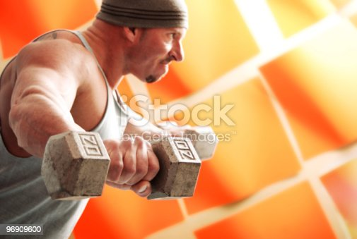 Male With Weights Stock Photo & More Pictures of Activity