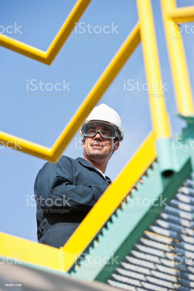 Male worker at industrial plant stock photo