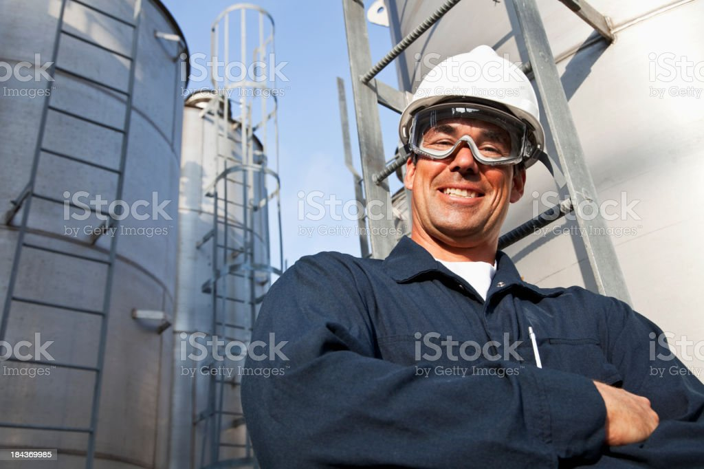 Male worker at manufacturing facility stock photo