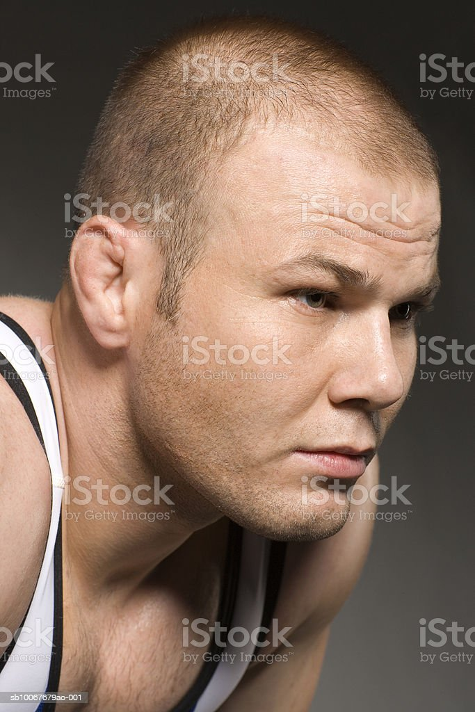 Male wrestler, close-up royalty-free stock photo