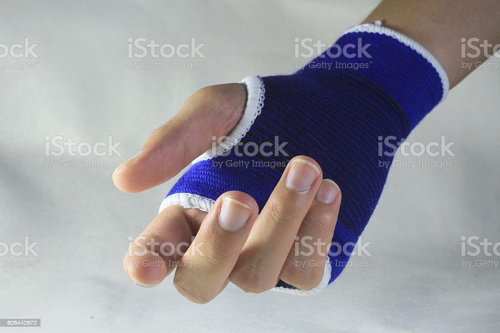 Male Wrist Pain Elastic Bandage On Hand Isolated White Background
