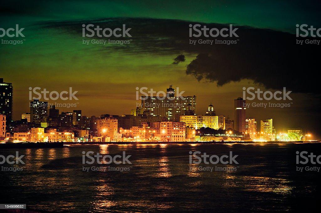 Malecon at night, Havana, Cuba royalty-free stock photo