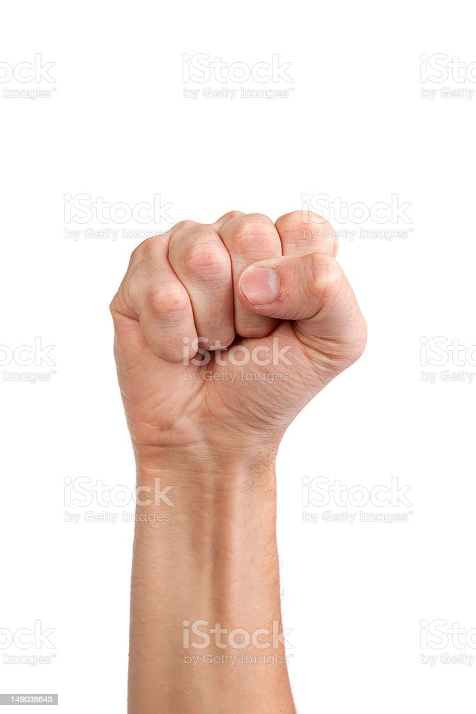 Males hand with a clenched fist isolated stock photo