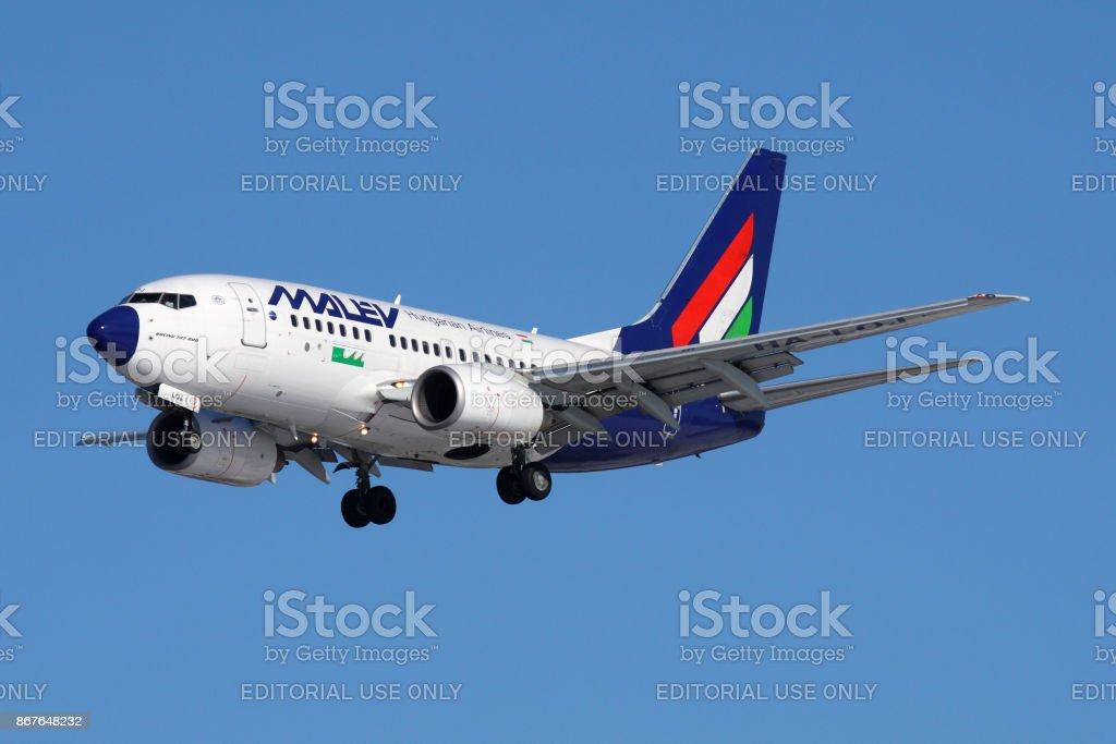 Malev Boeing 737-600 HA-LOJ landing at Sheremetyevo international airport. stock photo