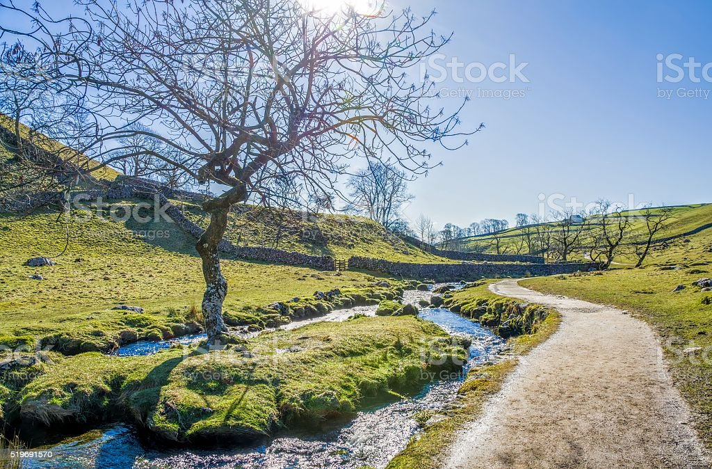 Malham Beck with footpath beside it stock photo