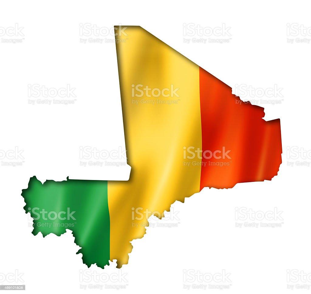 Bandeira de Mali em um mapa - foto de acervo
