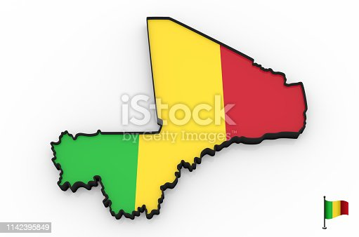 istock Mali high detailed 3D map 1142395849