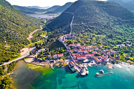 istock Mali Ston waterfront aerial view, Ston walls in Dalmatia region of Croatia 954390018