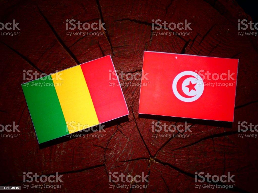 Bandeira do Mali com bandeira da Tunísia no tronco de uma árvore isolada - foto de acervo