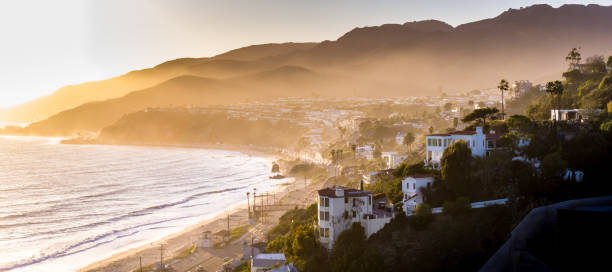 malibu at dusk - aerial panorama - halbergman stock pictures, royalty-free photos & images