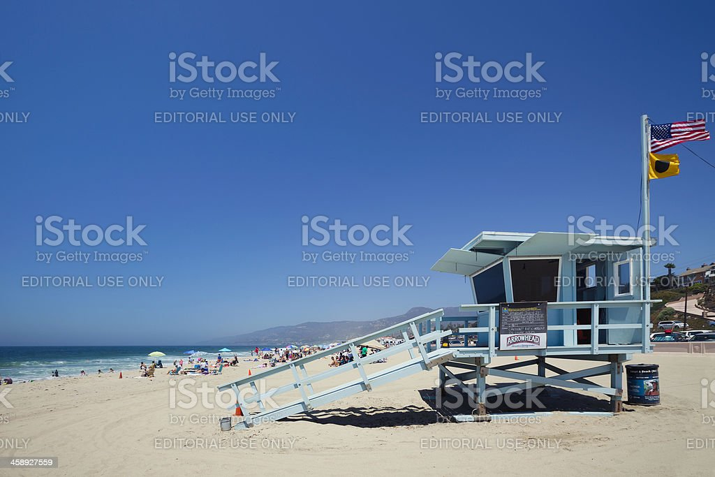 Malibu beach lifeguard stock photo