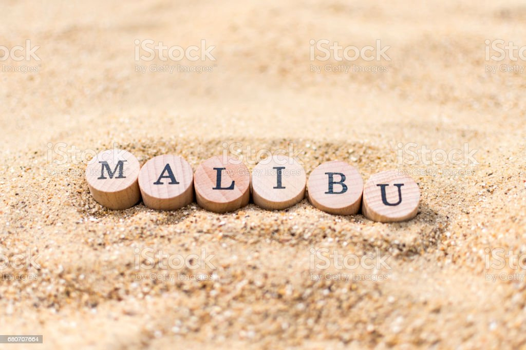 Malibu Beach / Sand concept stock photo