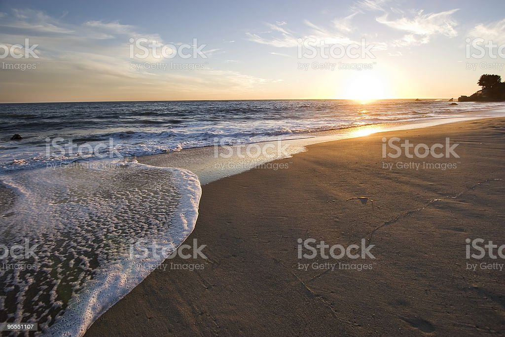 A Malibu Beach sunset in the summer stock photo
