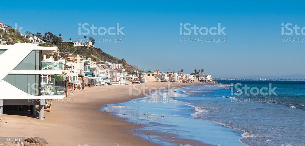 Malibu California Beach with Luxury Homes stock photo