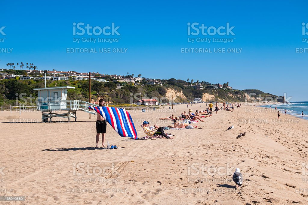 Malibu, California, People Suntan at Zuma Beach stock photo
