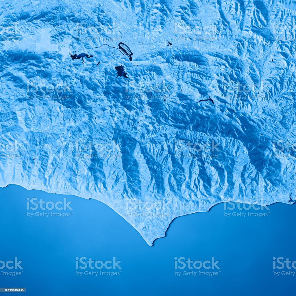 Pacific Ocean Topographic Map.Malibu Closeup 3d Render Topographic Map Blue Stock Photo More