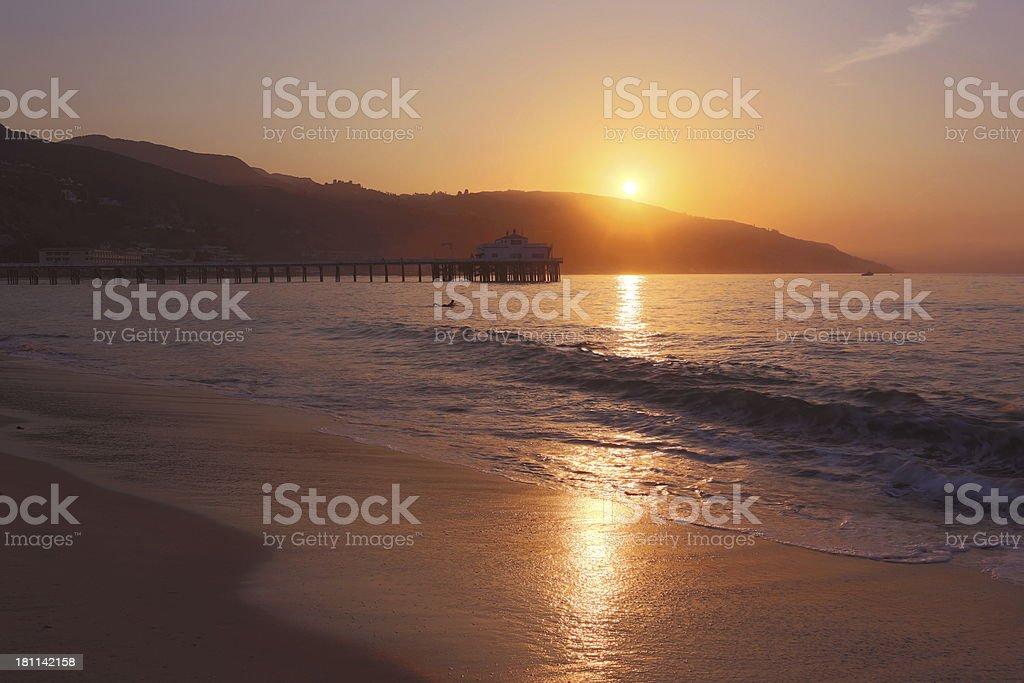 Malibu: Pier Sunrise royalty-free stock photo