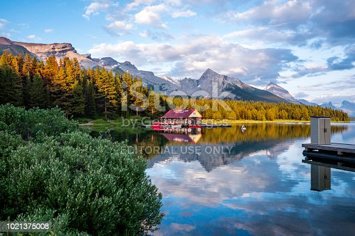 Jasper, Alberta, Canada - July 25, 2018: View of Maligne Lake at sunset, in Jasper National Park, Canadian Rockies, Alberta, Canada.