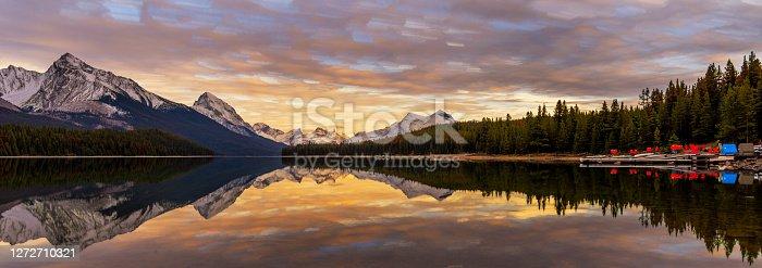 istock Maligne Lake in sunset 1272710321