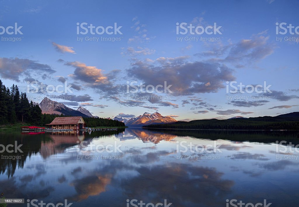 Maligne Lake Sunset stock photo