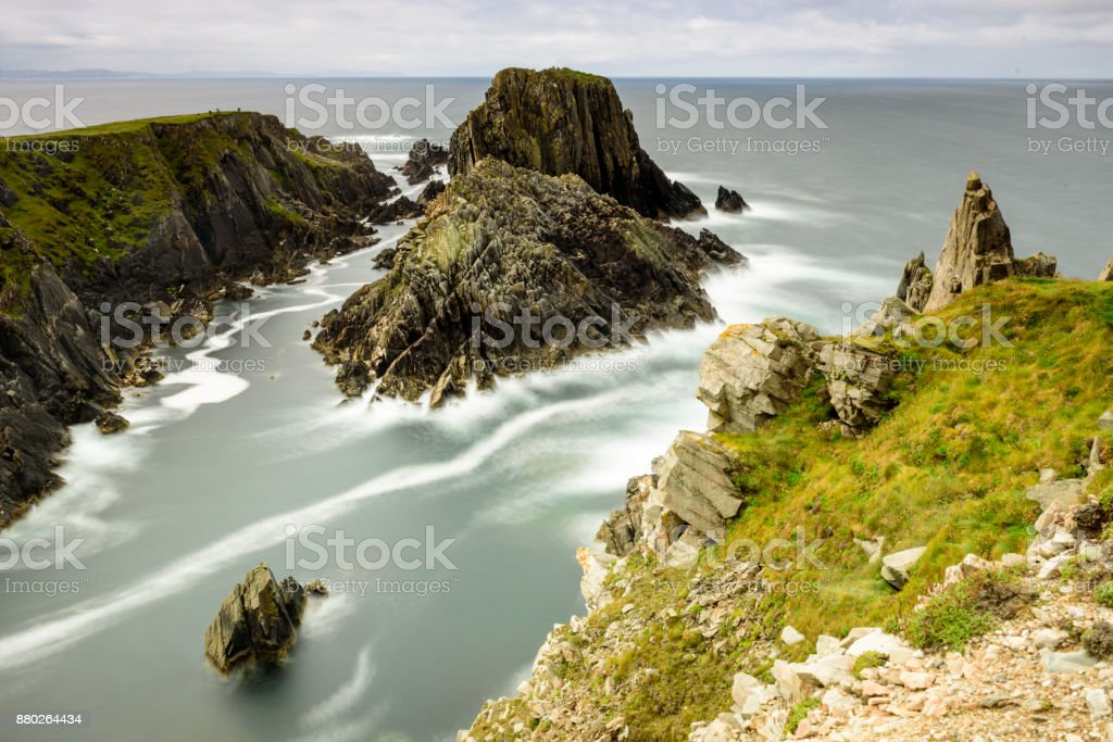 Malin Head rocks in Ireland stock photo