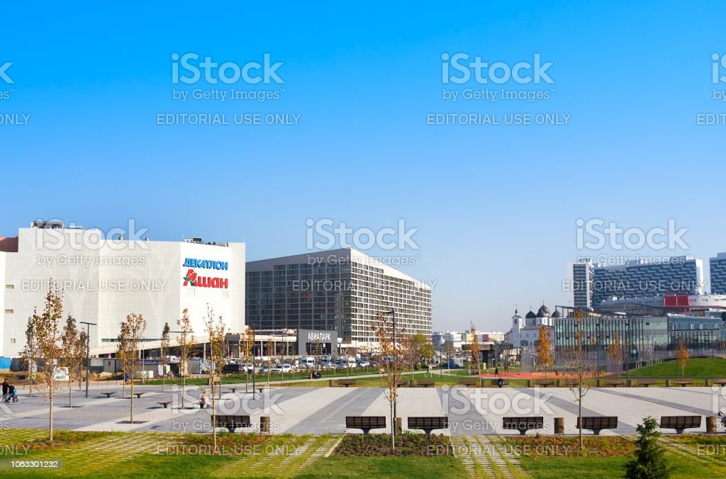 Moscow, Russia - October 18, 2018: Mall 'Avia Park', modern residential building and new park Khodynskoe field in Moscow, Russia. It is largest megamoll in Europe stock photo