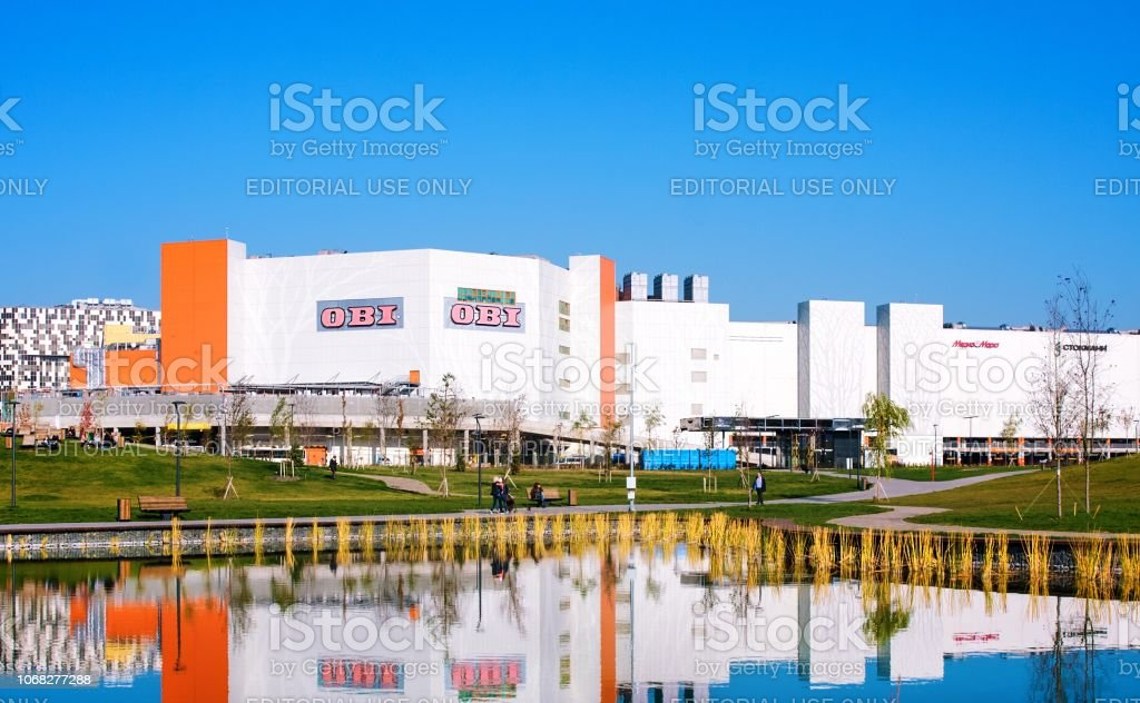 Mall 'Avia Park', modern residential building and new park Khodynskoe field in Moscow, Russia. It is largest megamoll in Europe stock photo