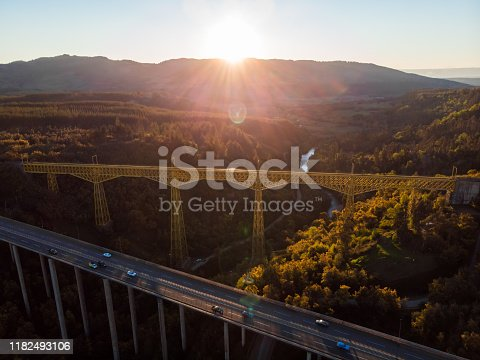 Aerial view of Malleco Viaduct at sunset, located in Araucania Region next to Collipulli, southern Chile
