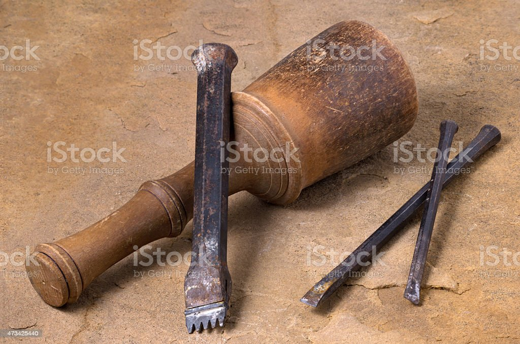 mallet with three chisels stock photo