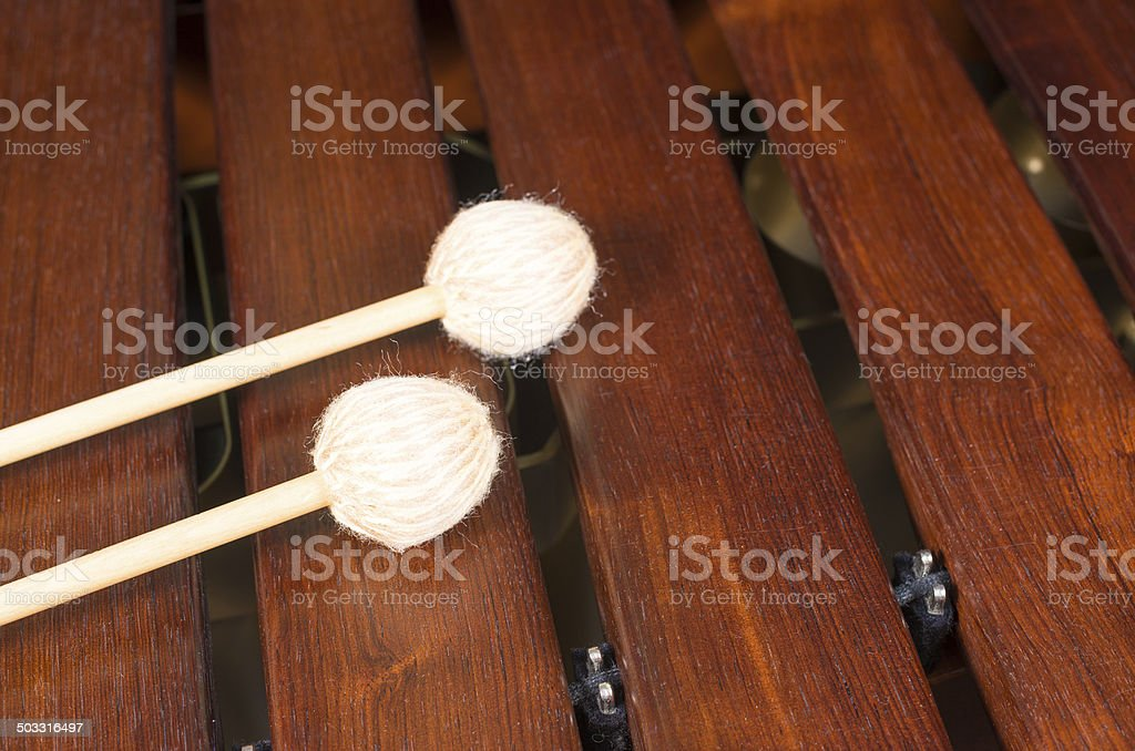 Mallets on marimba stock photo