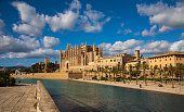 View of the Cathedral of Mallorca and its surroundings on a sunny autumnal day