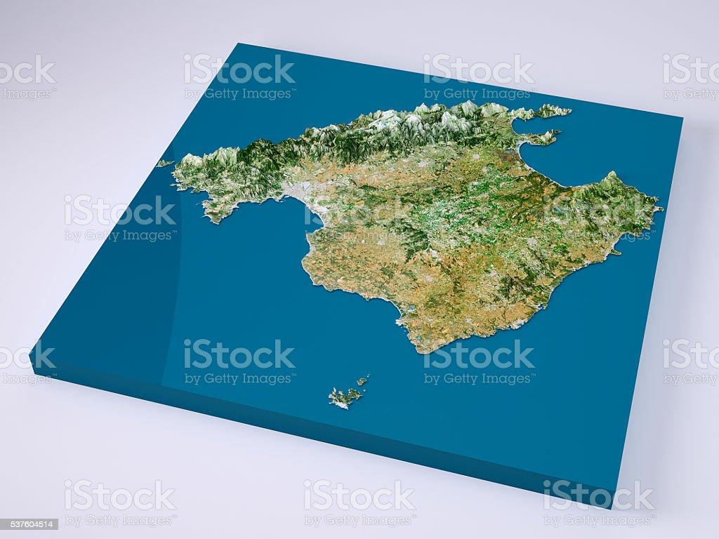 Mallorca Insel 3dmodell Topographische Karte Naturliche Farbe