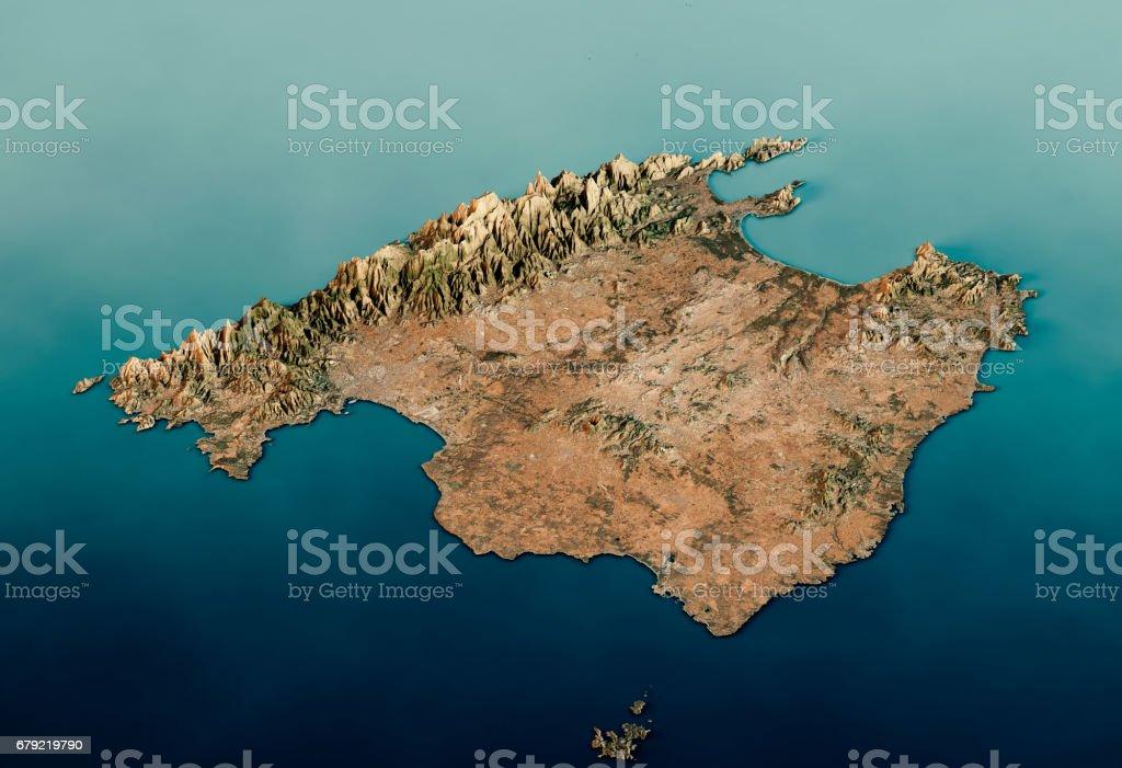 Satellite Map Of Spain.Mallorca Island 3d Render Satellite View Topographic Map Stock Photo