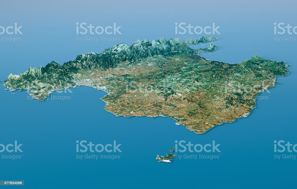 Mallorca Island Topographic Map 3D Landscape View Natural Color stock photo