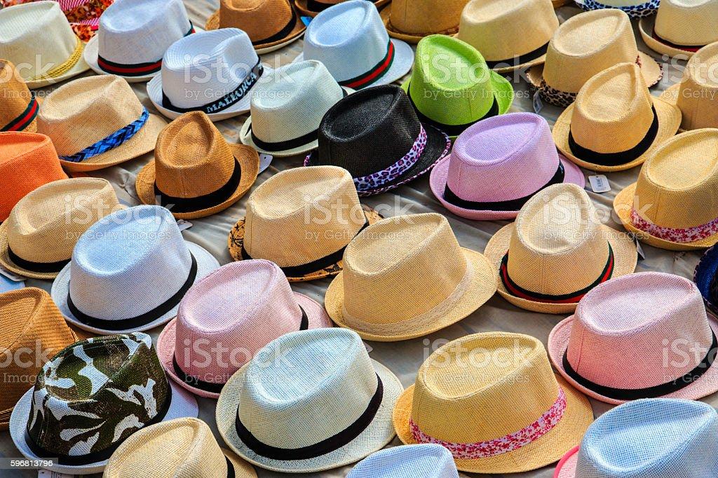 Mallorca, Palma de Mallorca, hats for sale in street market. stock photo