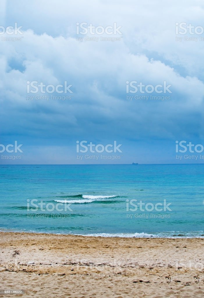 Mallorca seascape two waves cloudy sky stock photo