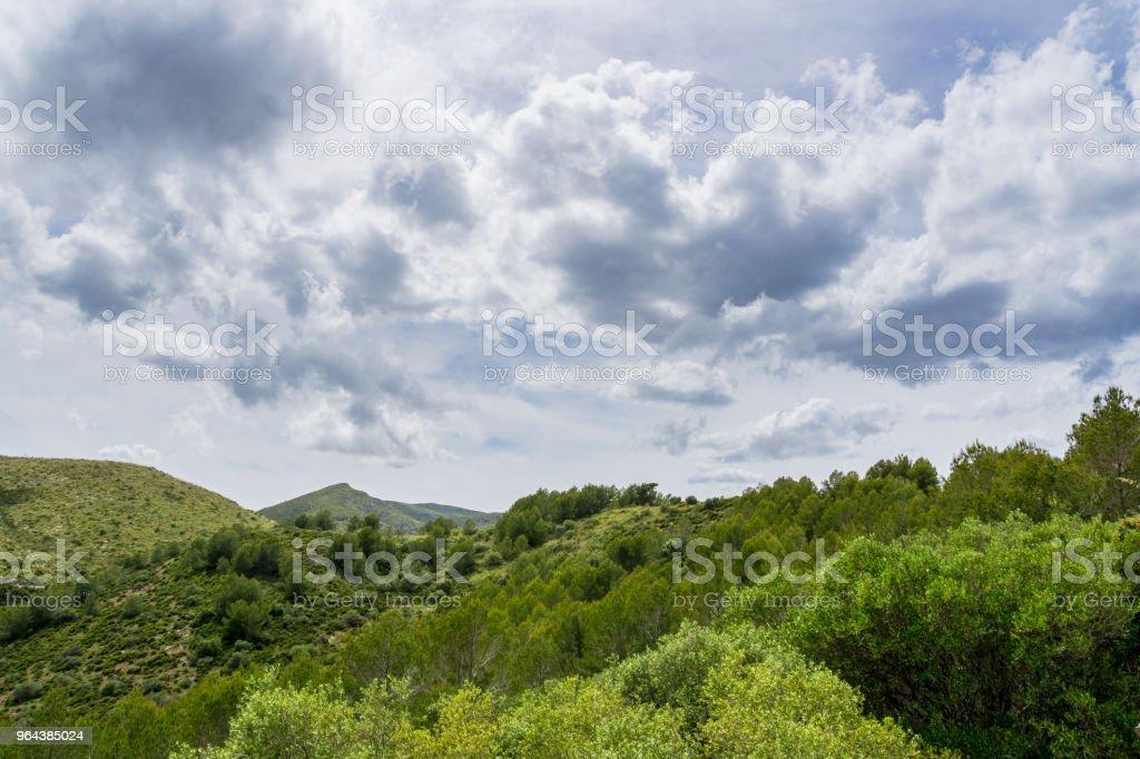 Mallorca, silêncio na paisagem natureza verde deslumbrante das montanhas interior com céu dramático - Foto de stock de Atividade royalty-free