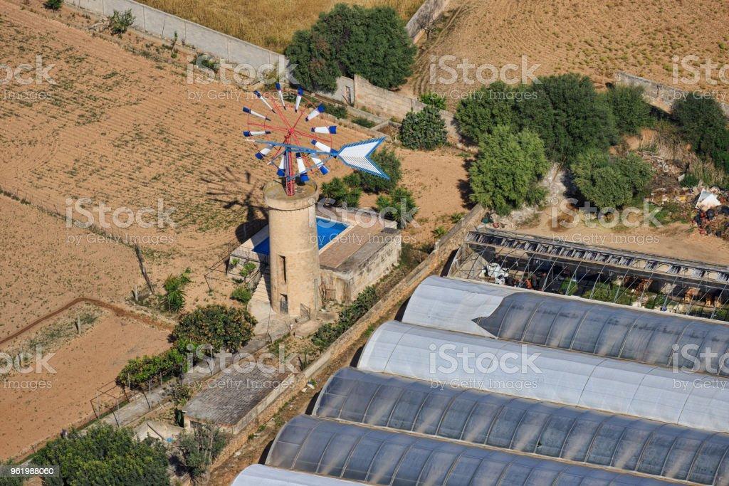 Mallorca windmill stock photo