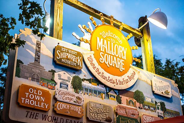 Schild am Mallory Square und allen Sehenswürdigkeiten, Key West – Foto