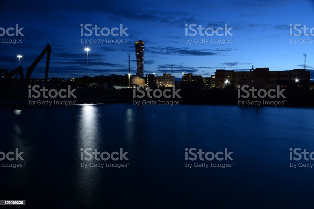 Malmö by night stock photo